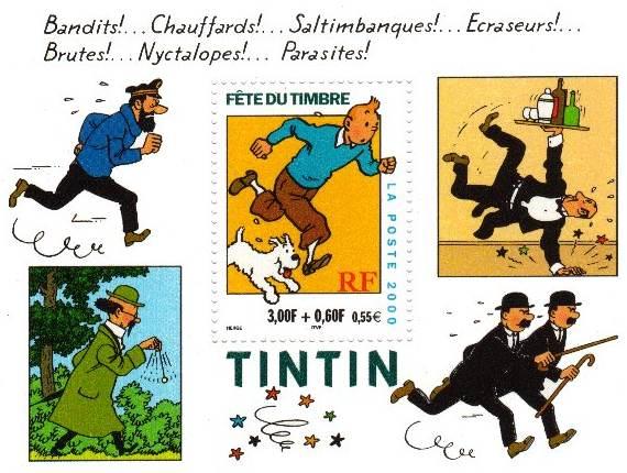 Tintin et Milou Bande Dessinée Bloc Timbre Tintin et Milou